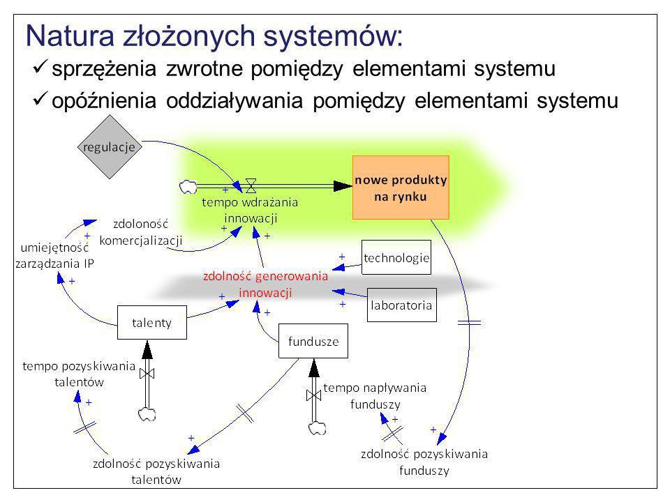 Natura złożonych systemów: sprzężenia zwrotne pomiędzy elementami systemu opóźnienia oddziaływania pomiędzy elementami systemu