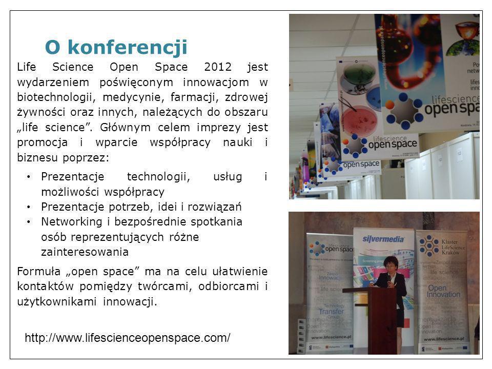 Life Science Open Space 2012 jest wydarzeniem poświęconym innowacjom w biotechnologii, medycynie, farmacji, zdrowej żywności oraz innych, należących d