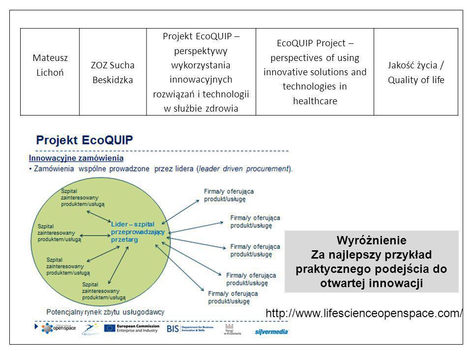 Wyróżnienie Za najlepszy przykład praktycznego podejścia do otwartej innowacji Mateusz Lichoń ZOZ Sucha Beskidzka Projekt EcoQUIP – perspektywy wykorz