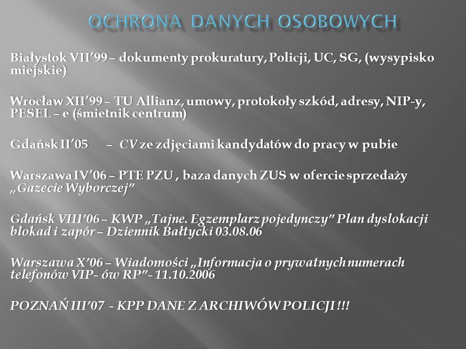 Białystok VII99 – dokumenty prokuratury, Policji, UC, SG, (wysypisko miejskie) Wrocław XII99 – TU Allianz, umowy, protokoły szkód, adresy, NIP-y, PESE