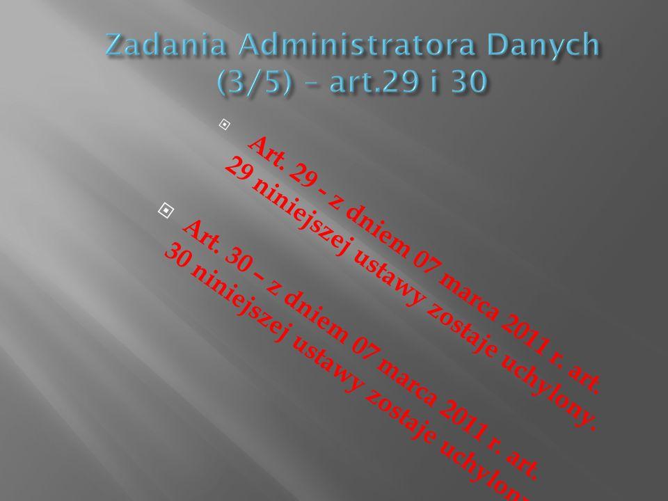Art. 29 - z dniem 07 marca 2011 r. art. 29 niniejszej ustawy zostaje uchylony. Art. 30 – z dniem 07 marca 2011 r. art. 30 niniejszej ustawy zostaje uc