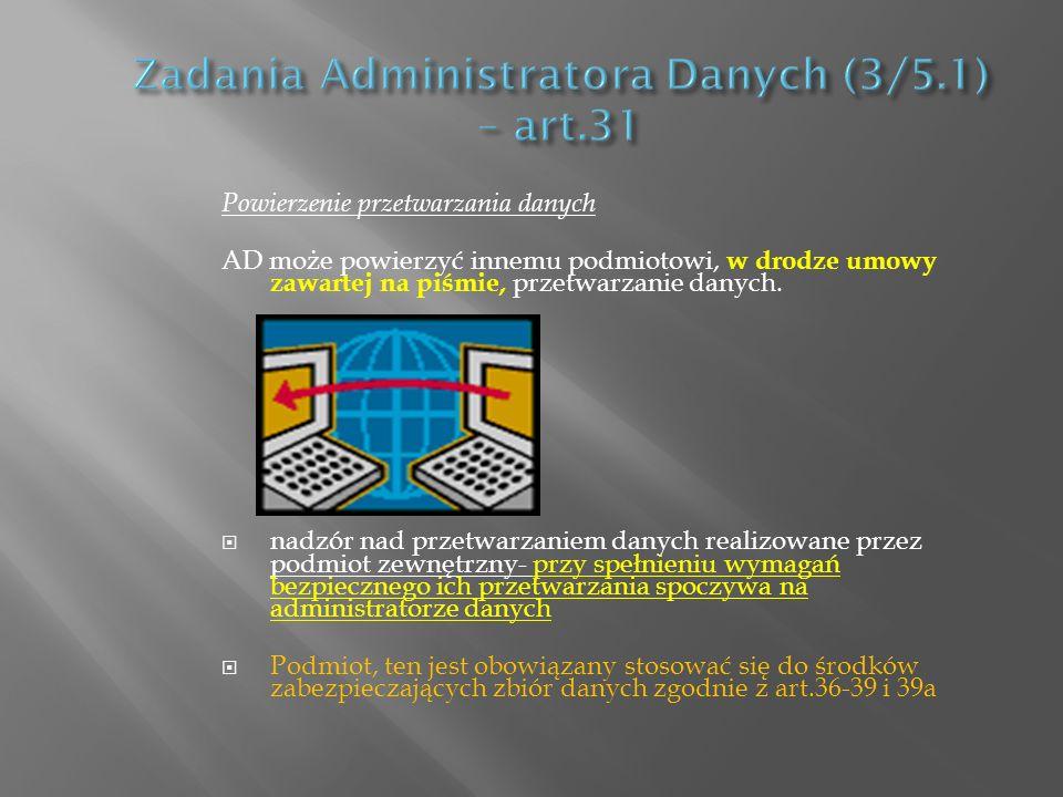 Powierzenie przetwarzania danych AD może powierzyć innemu podmiotowi, w drodze umowy zawartej na piśmie, przetwarzanie danych. nadzór nad przetwarzani