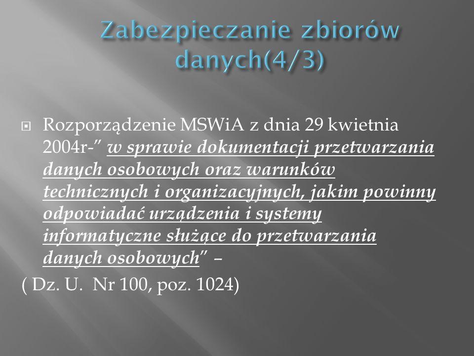 Rozporządzenie MSWiA z dnia 29 kwietnia 2004r- w sprawie dokumentacji przetwarzania danych osobowych oraz warunków technicznych i organizacyjnych, jak
