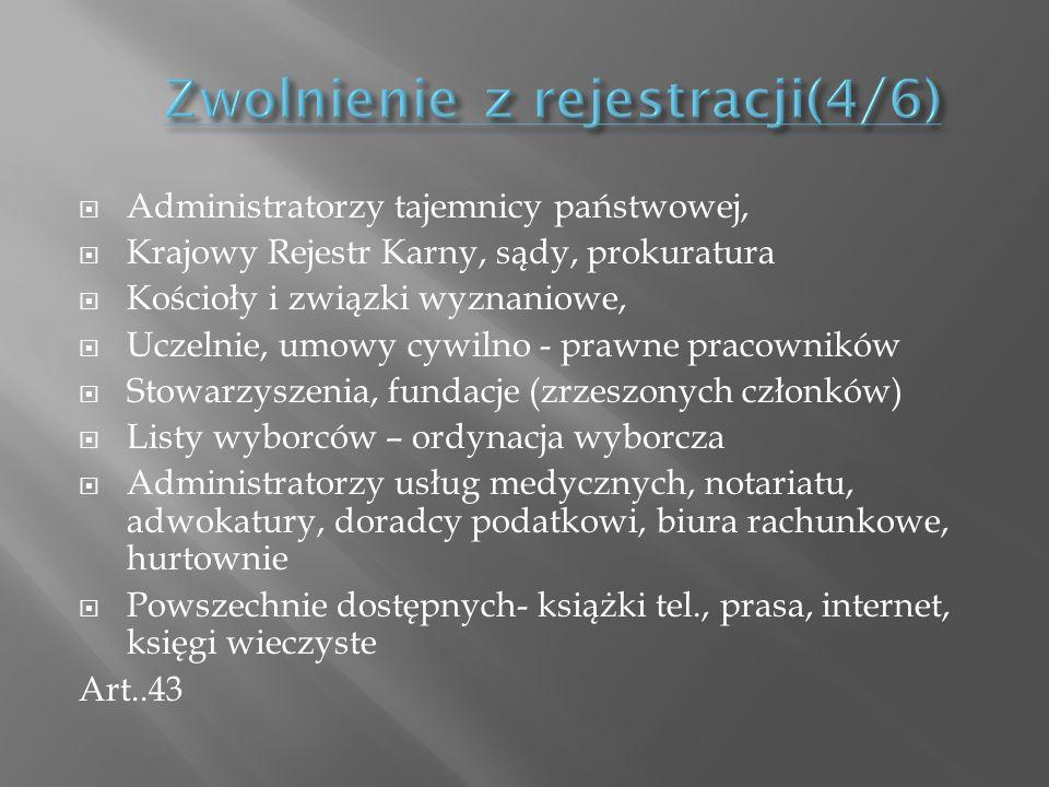 Administratorzy tajemnicy państwowej, Krajowy Rejestr Karny, sądy, prokuratura Kościoły i związki wyznaniowe, Uczelnie, umowy cywilno - prawne pracown