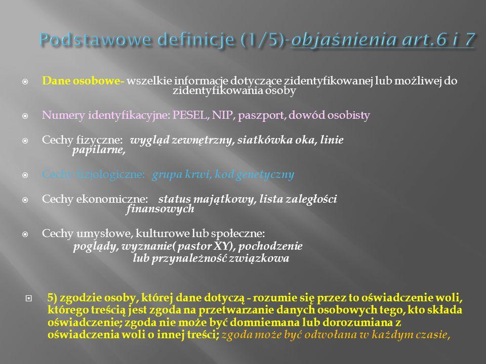 Dane osobowe- wszelkie informacje dotyczące zidentyfikowanej lub możliwej do zidentyfikowania osoby Numery identyfikacyjne: PESEL, NIP, paszport, dowó
