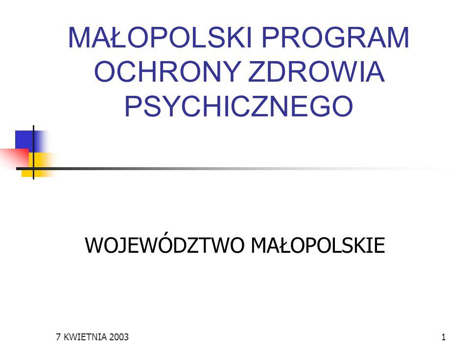 7 KWIETNIA 20031 MAŁOPOLSKI PROGRAM OCHRONY ZDROWIA PSYCHICZNEGO WOJEWÓDZTWO MAŁOPOLSKIE