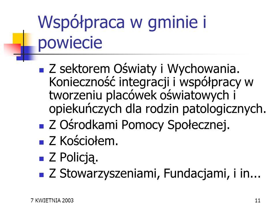 7 KWIETNIA 200311 Współpraca w gminie i powiecie Z sektorem Oświaty i Wychowania. Konieczność integracji i współpracy w tworzeniu placówek oświatowych