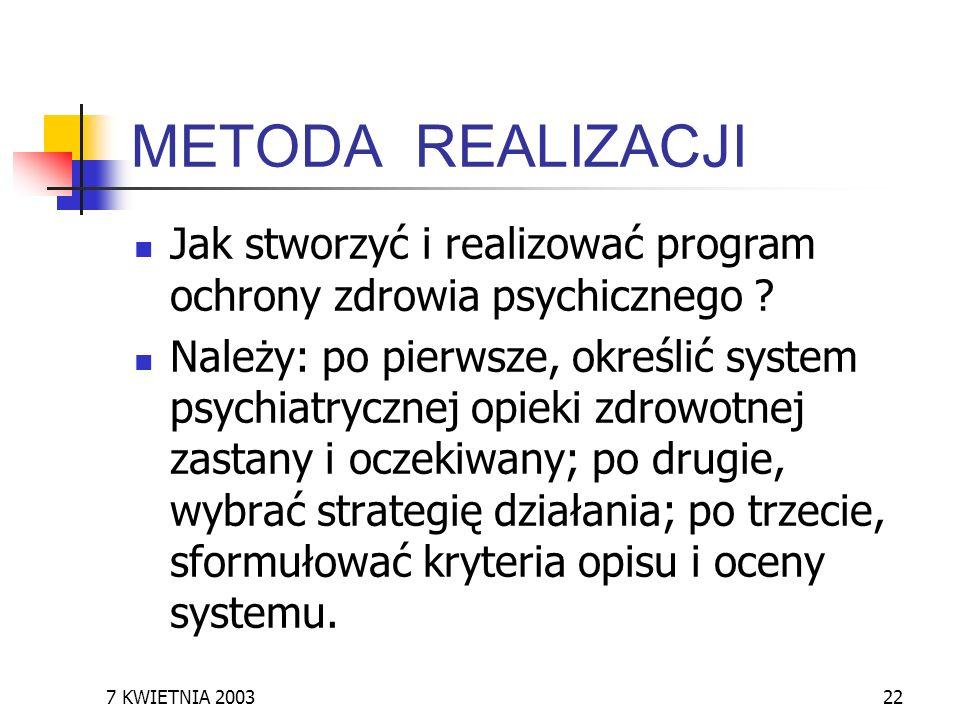 7 KWIETNIA 200322 METODA REALIZACJI Jak stworzyć i realizować program ochrony zdrowia psychicznego ? Należy: po pierwsze, określić system psychiatrycz