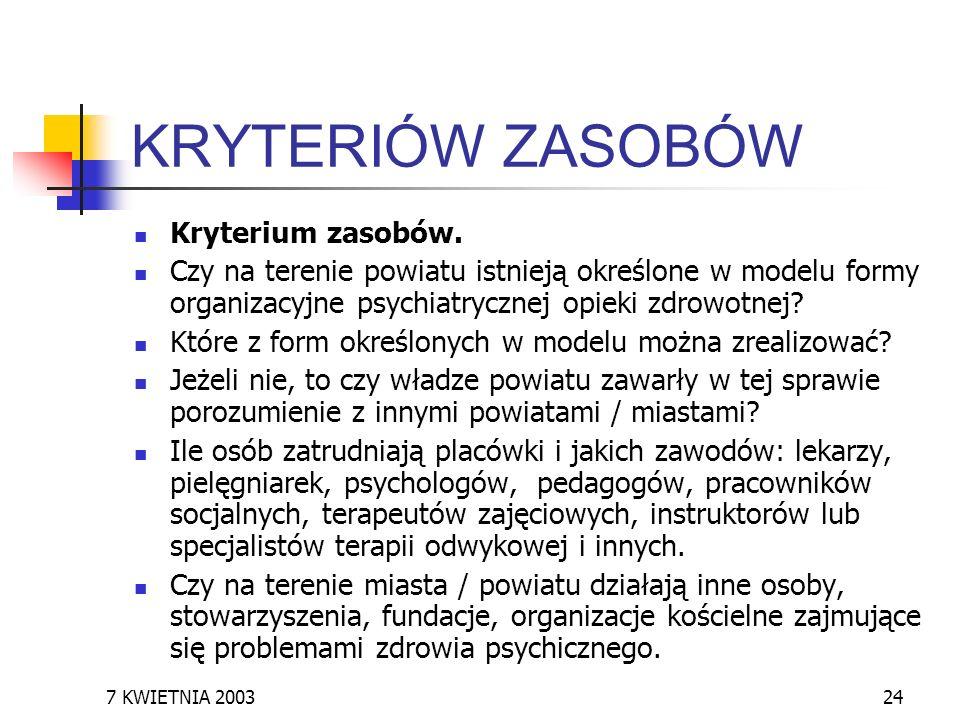 7 KWIETNIA 200324 KRYTERIÓW ZASOBÓW Kryterium zasobów. Czy na terenie powiatu istnieją określone w modelu formy organizacyjne psychiatrycznej opieki z