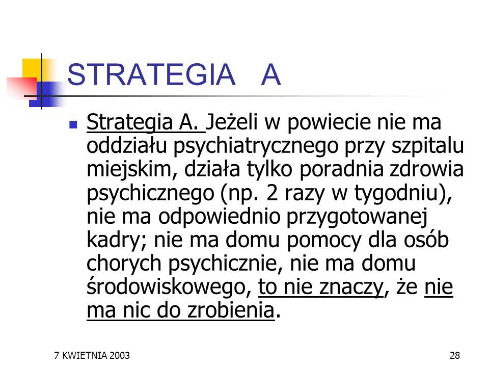 7 KWIETNIA 200328 STRATEGIA A Strategia A. Jeżeli w powiecie nie ma oddziału psychiatrycznego przy szpitalu miejskim, działa tylko poradnia zdrowia ps