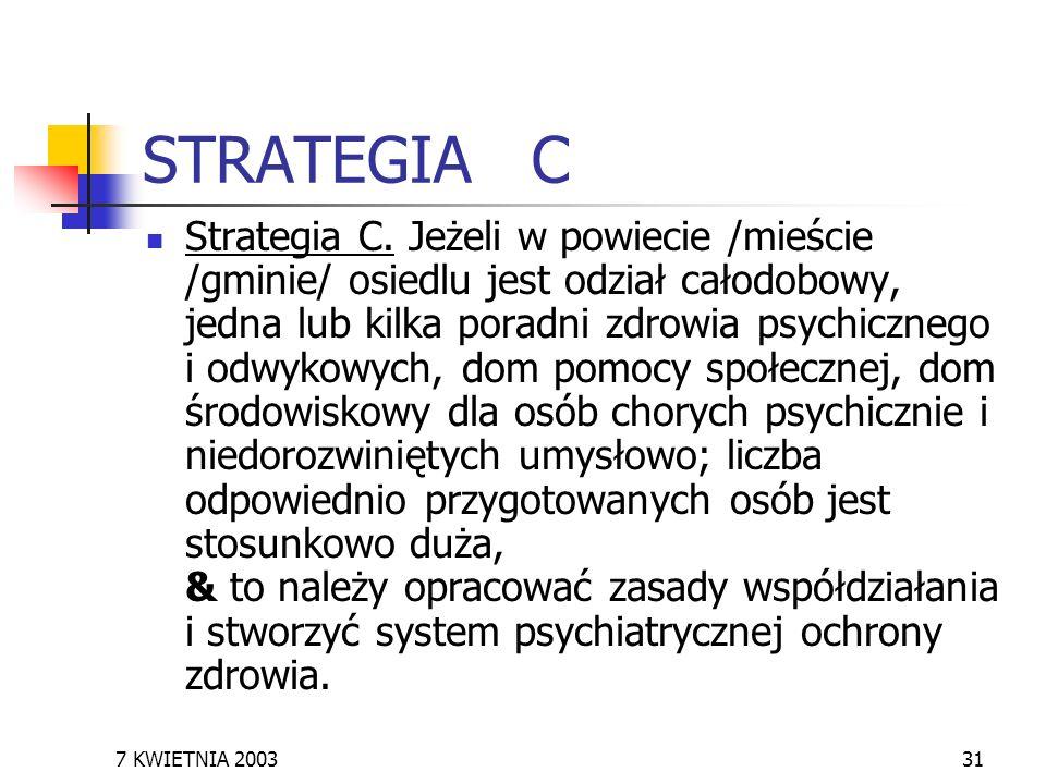 7 KWIETNIA 200331 STRATEGIA C Strategia C. Jeżeli w powiecie /mieście /gminie/ osiedlu jest odział całodobowy, jedna lub kilka poradni zdrowia psychic