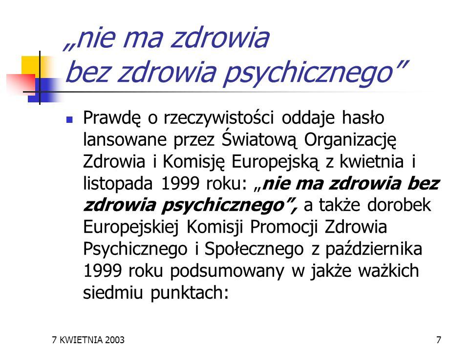 7 KWIETNIA 20037 nie ma zdrowia bez zdrowia psychicznego Prawdę o rzeczywistości oddaje hasło lansowane przez Światową Organizację Zdrowia i Komisję E