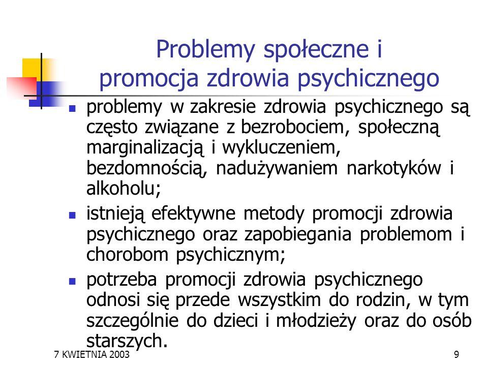 7 KWIETNIA 20039 Problemy społeczne i promocja zdrowia psychicznego problemy w zakresie zdrowia psychicznego są często związane z bezrobociem, społecz