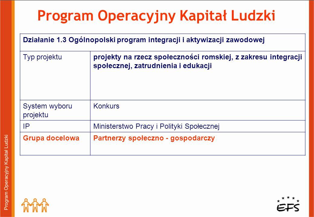Program Operacyjny Kapitał Ludzki Działanie 1.3 Ogólnopolski program integracji i aktywizacji zawodowej Typ projektuprojekty na rzecz społeczności rom