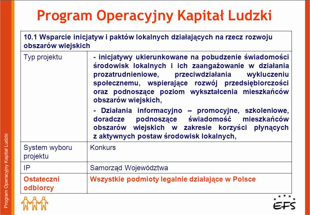 Program Operacyjny Kapitał Ludzki 10.1 Wsparcie inicjatyw i paktów lokalnych działających na rzecz rozwoju obszarów wiejskich Typ projektu- inicjatywy