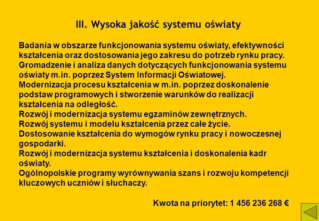 III. Wysoka jakość systemu oświaty Badania w obszarze funkcjonowania systemu oświaty, efektywności kształcenia oraz dostosowania jego zakresu do potrz