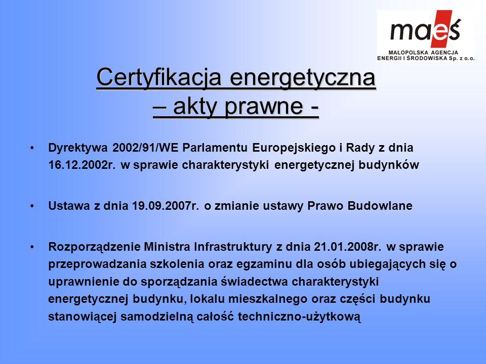 Certyfikacja energetyczna – akty prawne - Dyrektywa 2002/91/WE Parlamentu Europejskiego i Rady z dnia 16.12.2002r. w sprawie charakterystyki energetyc
