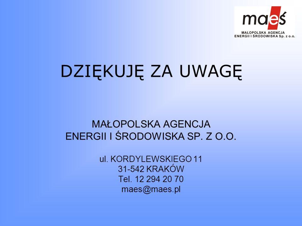 DZIĘKUJĘ ZA UWAGĘ MAŁOPOLSKA AGENCJA ENERGII I ŚRODOWISKA SP. Z O.O. ul. KORDYLEWSKIEGO 11 31-542 KRAKÓW Tel. 12 294 20 70 maes@maes.pl