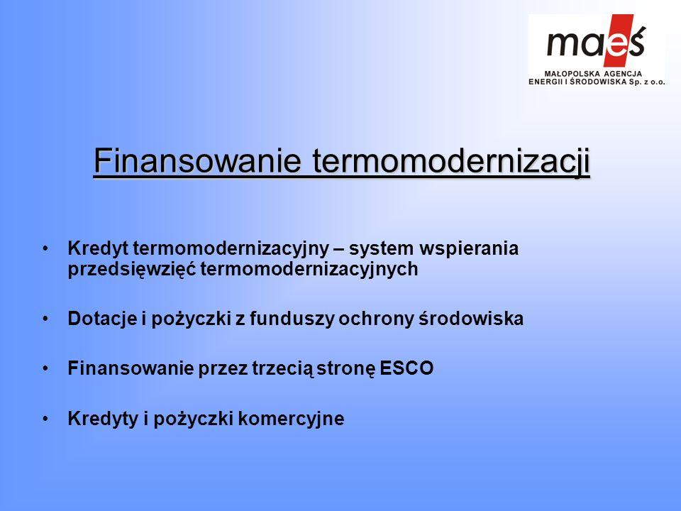 Finansowanie termomodernizacji Kredyt termomodernizacyjny – system wspierania przedsięwzięć termomodernizacyjnych Dotacje i pożyczki z funduszy ochron
