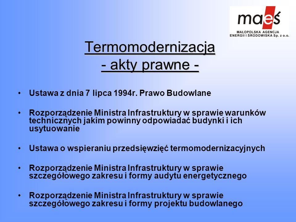 Termomodernizacja - akty prawne - Ustawa z dnia 7 lipca 1994r. Prawo Budowlane Rozporządzenie Ministra Infrastruktury w sprawie warunków technicznych