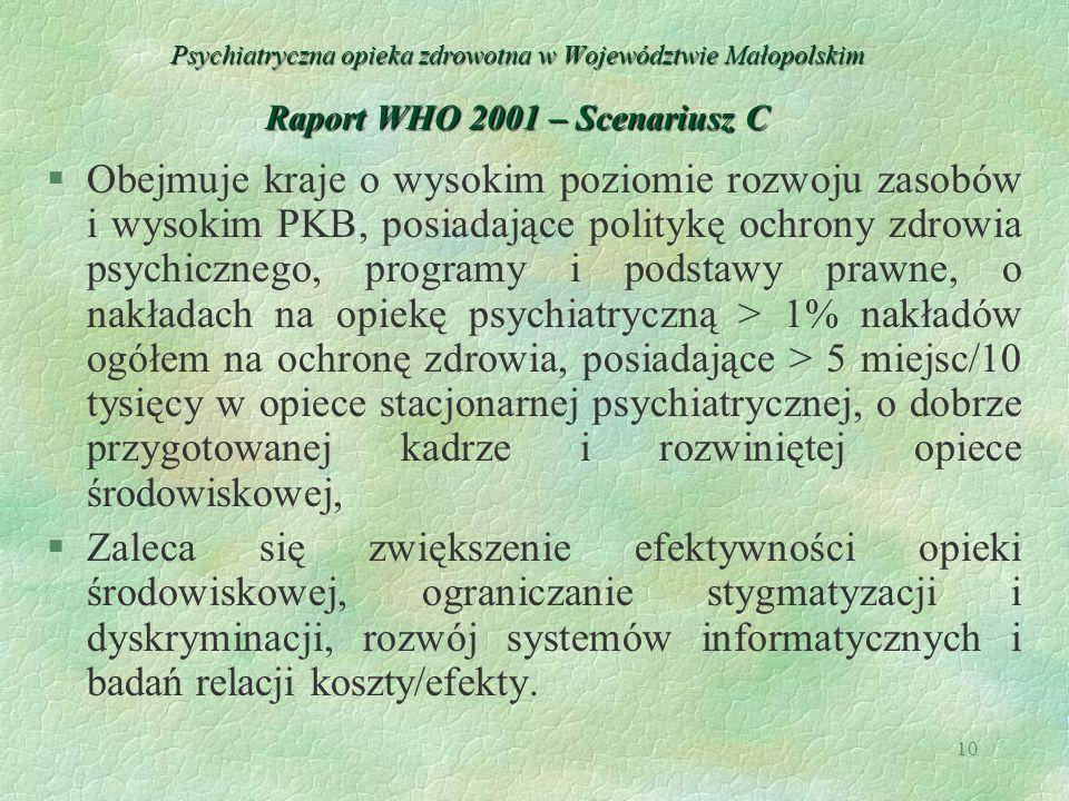 10 Psychiatryczna opieka zdrowotna w Województwie Małopolskim Raport WHO 2001 – Scenariusz C §Obejmuje kraje o wysokim poziomie rozwoju zasobów i wyso