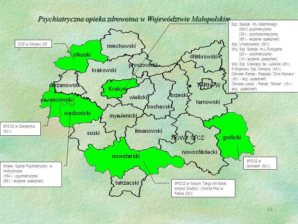 18 Psychiatryczna opieka zdrowotna w Województwie Małopolskim Szp. Specjal. Im.J.Babińskiego (683 ł. psychiatryczne) (38 ł. - psychosomatyczne) (85 ł.