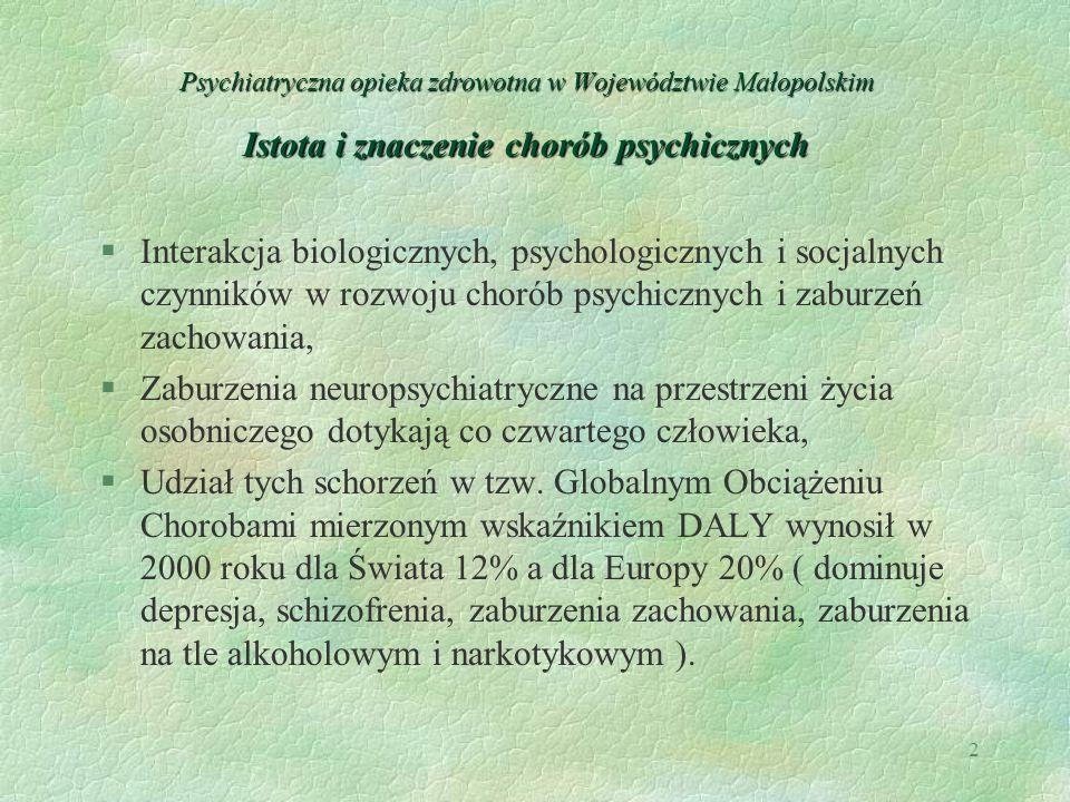 2 Psychiatryczna opieka zdrowotna w Województwie Małopolskim Istota i znaczenie chorób psychicznych §Interakcja biologicznych, psychologicznych i socj
