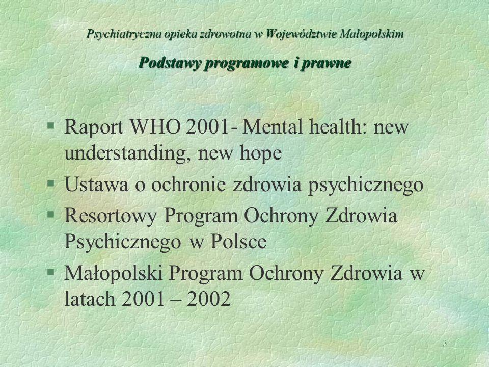 3 Psychiatryczna opieka zdrowotna w Województwie Małopolskim Podstawy programowe i prawne §Raport WHO 2001- Mental health: new understanding, new hope