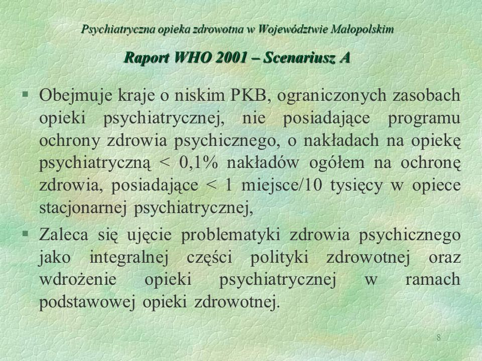 8 Psychiatryczna opieka zdrowotna w Województwie Małopolskim Raport WHO 2001 – Scenariusz A §Obejmuje kraje o niskim PKB, ograniczonych zasobach opiek