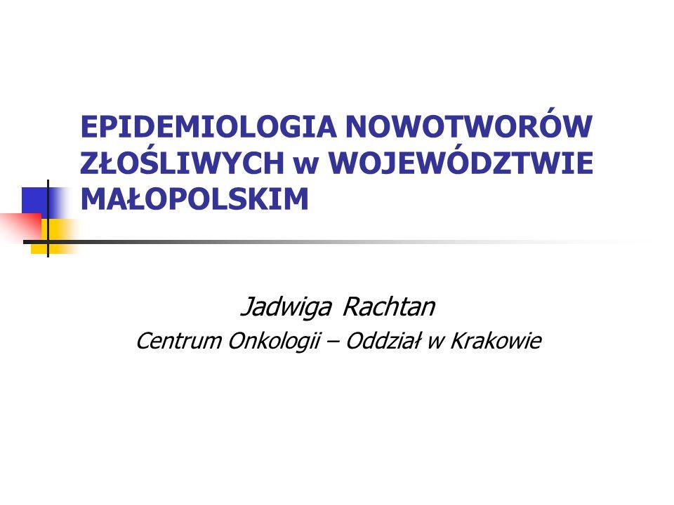 EPIDEMIOLOGIA NOWOTWORÓW ZŁOŚLIWYCH w WOJEWÓDZTWIE MAŁOPOLSKIM Jadwiga Rachtan Centrum Onkologii – Oddział w Krakowie