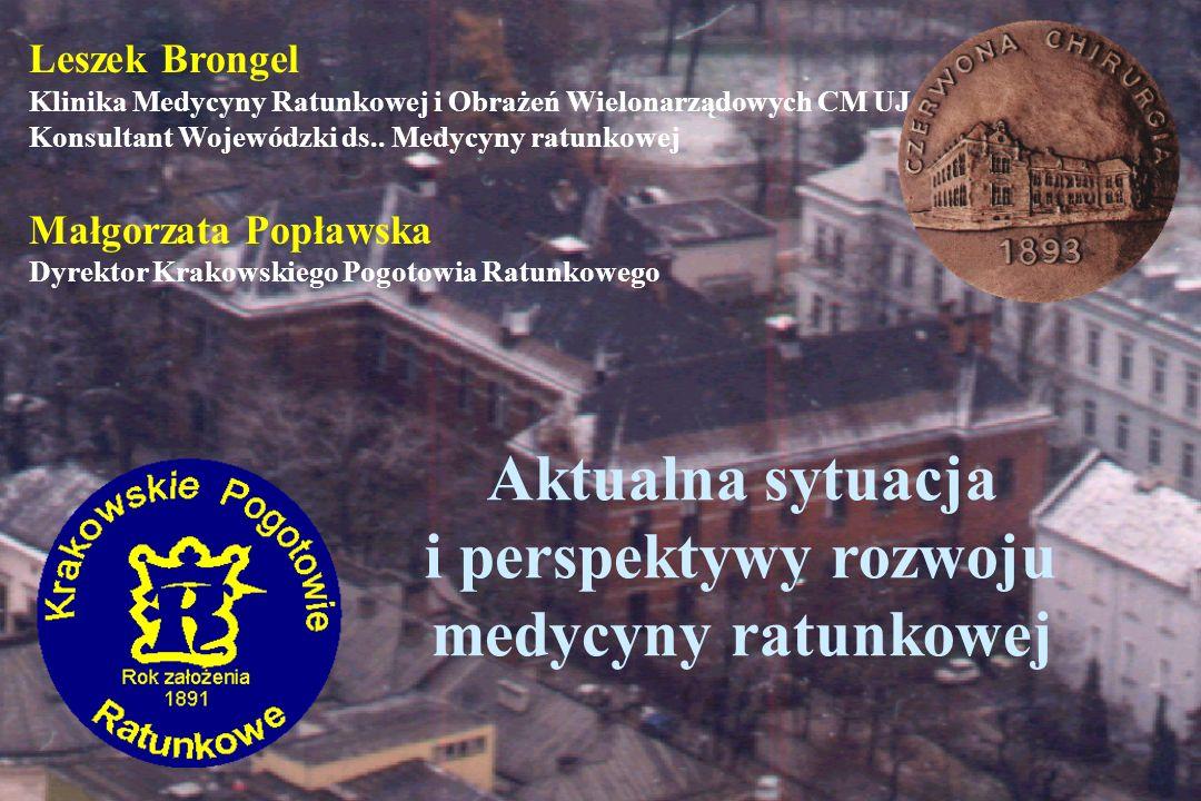 Medycyna ratunkowa w Małopolsce 7.04.2003 1 CPR (Tarnów) 10 oddanych do użytku szpitalnych oddziałów ratunkowych 11 (na 100 w kraju) specjalistów w tym zakresie Dalszych 12 właśnie zdaje egzaminy 50 rozpoczęło specjalizację