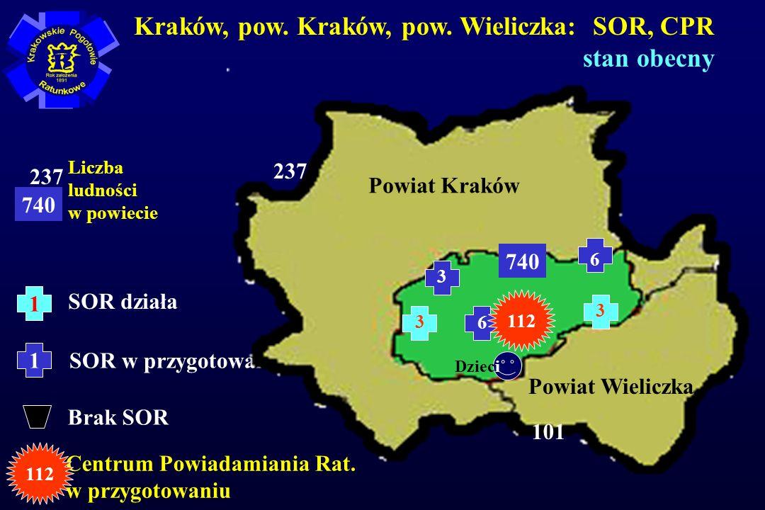 1 SOR działa 1 SOR w przygotowaniu Brak SOR Kraków, pow.