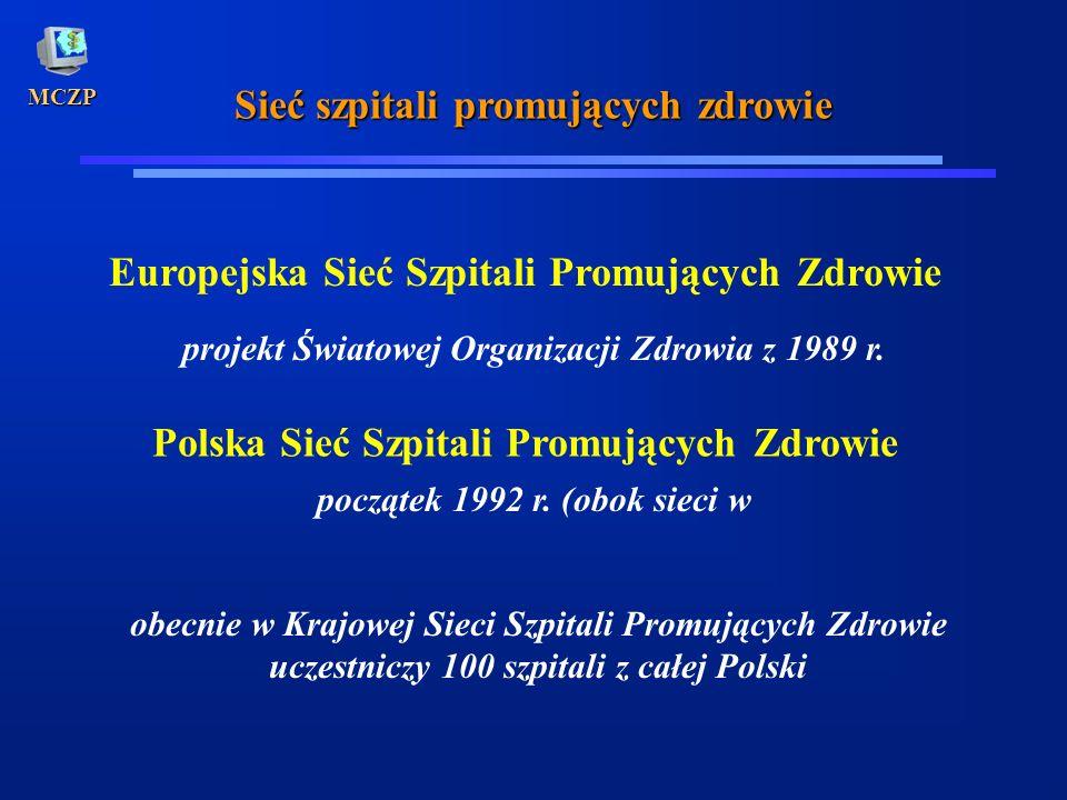 MCZP Sieć szpitali promujących zdrowie Europejska Sieć Szpitali Promujących Zdrowie projekt Światowej Organizacji Zdrowia z 1989 r. Polska Sieć Szpita