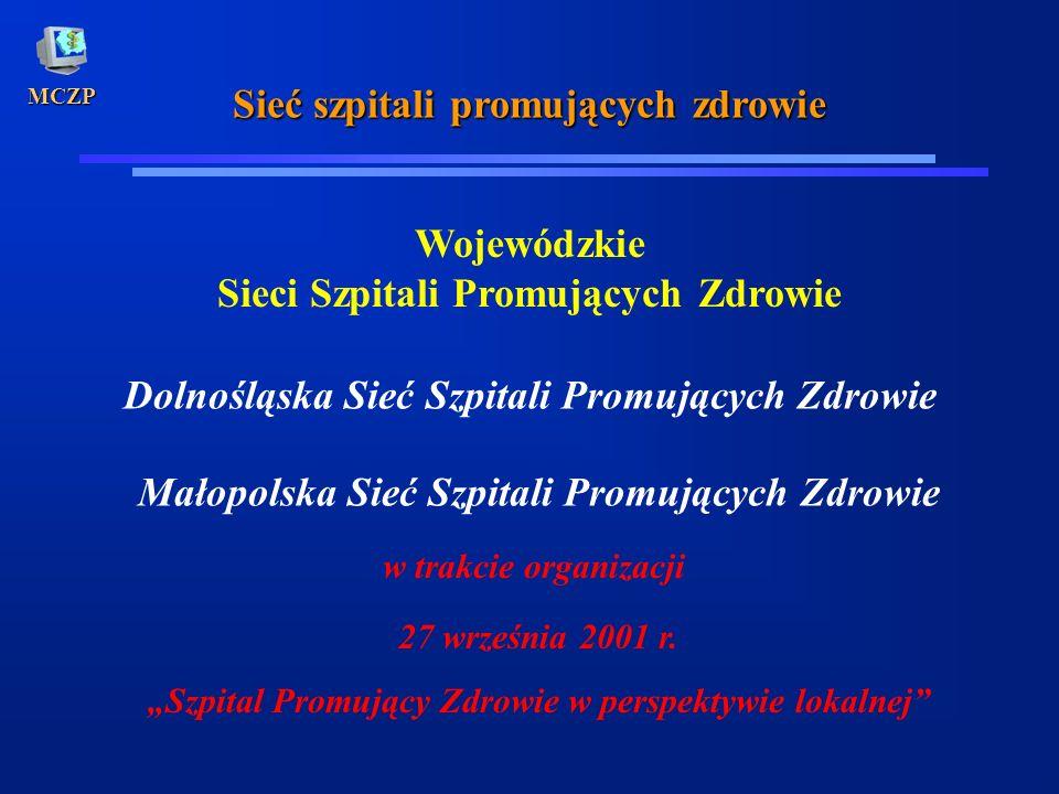 MCZP Sieć szpitali promujących zdrowie Wojewódzkie Sieci Szpitali Promujących Zdrowie Dolnośląska Sieć Szpitali Promujących Zdrowie Małopolska Sieć Sz