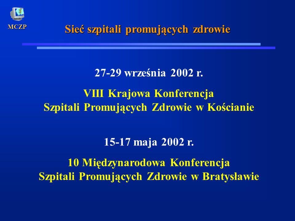 MCZP Sieć szpitali promujących zdrowie 27-29 września 2002 r. VIII Krajowa Konferencja Szpitali Promujących Zdrowie w Kościanie 15-17 maja 2002 r. 10
