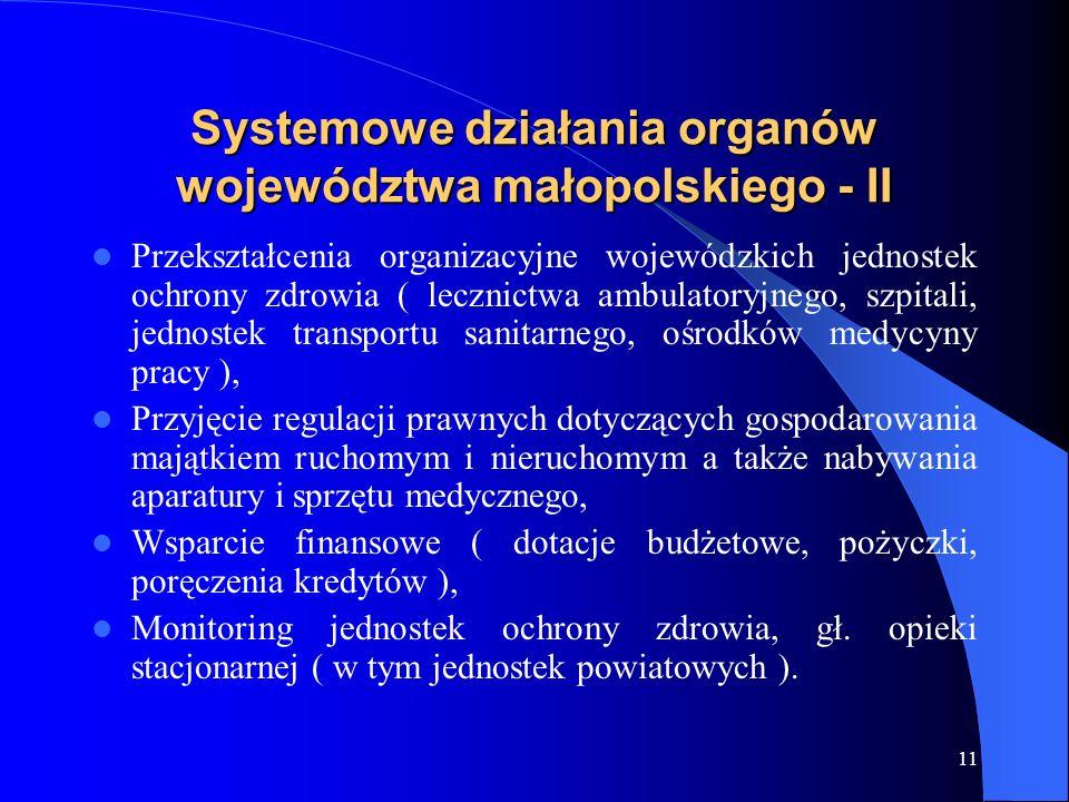 11 Systemowe działania organów województwa małopolskiego - II Przekształcenia organizacyjne wojewódzkich jednostek ochrony zdrowia ( lecznictwa ambula