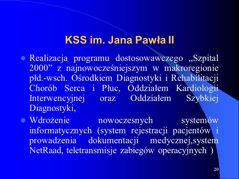 20 KSS im. Jana Pawła II Realizacja programu dostosowawczego Szpital 2000 z najnowocześniejszym w makroregionie płd.-wsch. Ośrodkiem Diagnostyki i Reh