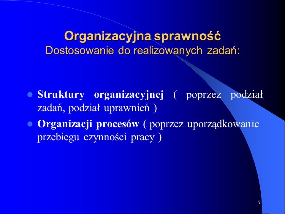 7 Organizacyjna sprawność Dostosowanie do realizowanych zadań: Struktury organizacyjnej ( poprzez podział zadań, podział uprawnień ) Organizacji proce
