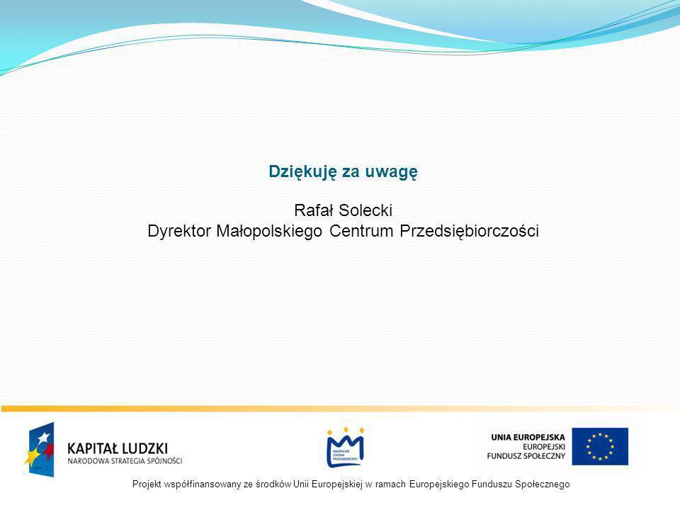 Dziękuję za uwagę Rafał Solecki Dyrektor Małopolskiego Centrum Przedsiębiorczości
