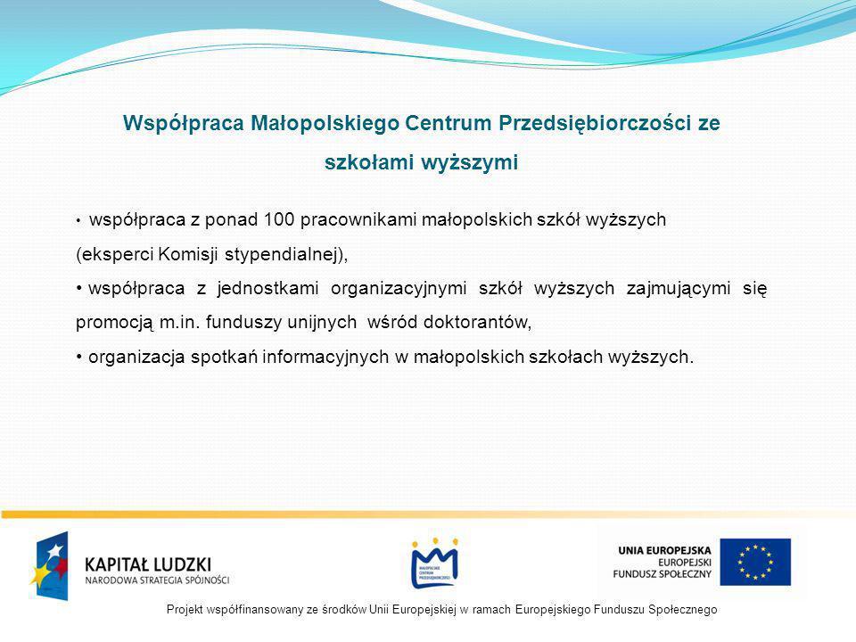 Projekt współfinansowany ze środków Unii Europejskiej w ramach Europejskiego Funduszu Społecznego Współpraca Małopolskiego Centrum Przedsiębiorczości ze szkołami wyższymi współpraca z ponad 100 pracownikami małopolskich szkół wyższych (eksperci Komisji stypendialnej), współpraca z jednostkami organizacyjnymi szkół wyższych zajmującymi się promocją m.in.