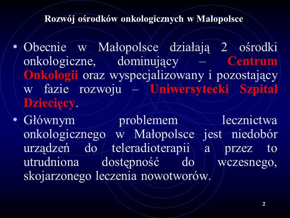 2 Rozwój ośrodków onkologicznych w Małopolsce Obecnie w Małopolsce działają 2 ośrodki onkologiczne, dominujący – Centrum Onkologii oraz wyspecjalizowa