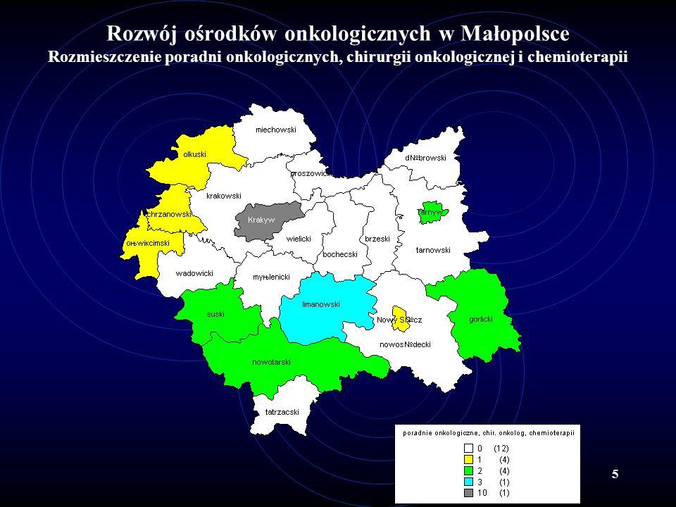 5 Rozwój ośrodków onkologicznych w Małopolsce Rozmieszczenie poradni onkologicznych, chirurgii onkologicznej i chemioterapii