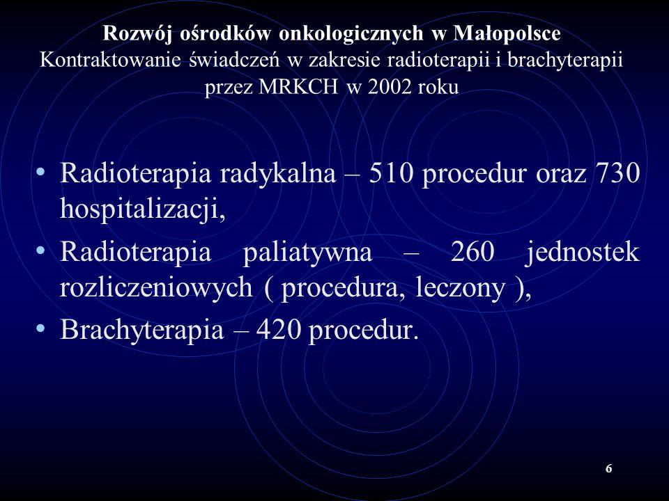 7 Rozwój ośrodków onkologicznych w Małopolsce W perspektywie określonej Małopolskim Programem Ochrony Zdrowia w latach 2001 – 2005 przewiduje się modernizację obecnie istniejących ośrodków i ich doposażenie oraz rozwój 2 nowych ośrodków onkologicznych.