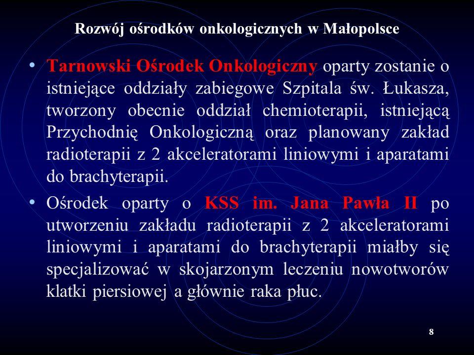 8 Rozwój ośrodków onkologicznych w Małopolsce Tarnowski Ośrodek Onkologiczny oparty zostanie o istniejące oddziały zabiegowe Szpitala św. Łukasza, two