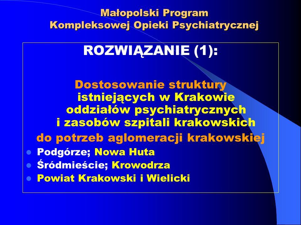 Małopolski Program Kompleksowej Opieki Psychiatrycznej ROZWIĄZANIE (2): Otwarcie nowych ośrodków leczenia stacjonarnego i dziennego dla potrzeb Miasta Krakowa oraz wybranych subregionów województwa małopolskiego ORAZ powołanie specjalistycznych centrów leczenia uzależnień geriatrii