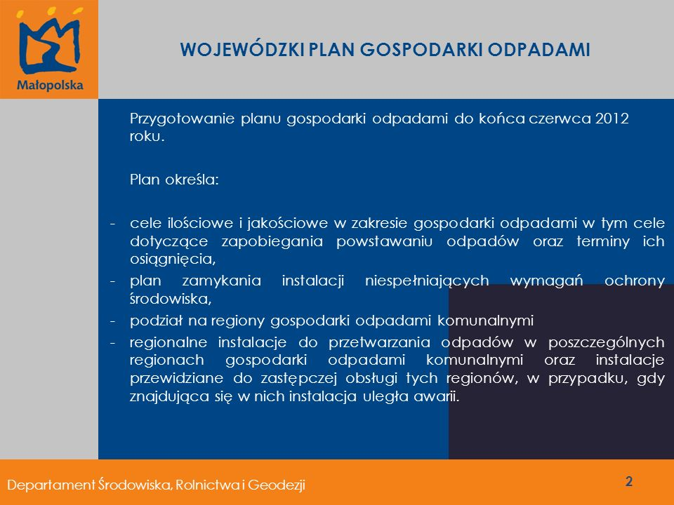 Przygotowanie planu gospodarki odpadami do końca czerwca 2012 roku. Plan określa: -cele ilościowe i jakościowe w zakresie gospodarki odpadami w tym ce