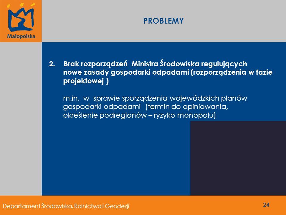 PROBLEMY 24 2. Brak rozporządzeń Ministra Środowiska regulujących nowe zasady gospodarki odpadami (rozporządzenia w fazie projektowej ) m.in. w sprawi