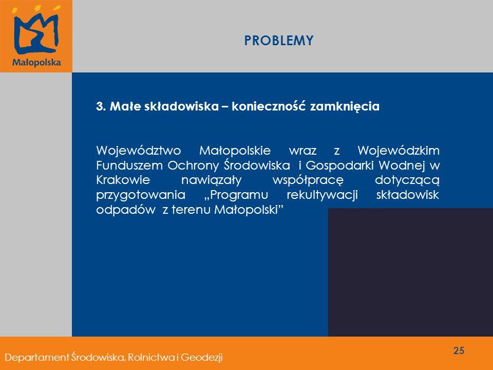Departament Środowiska, Rolnictwa i Geodezji PROBLEMY 25 3. Małe składowiska – konieczność zamknięcia Województwo Małopolskie wraz z Wojewódzkim Fundu