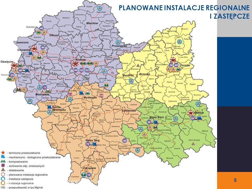 Region 4 – Południowy Kompostownie PLANOWANE INSTALACJE REGIONALNE: Kompostownia odpadów zielonych w Myślenicach – 5 tys.
