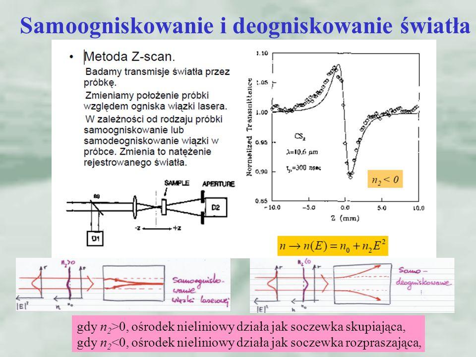 Samoogniskowanie i deogniskowanie światła gdy n 2 >0, ośrodek nieliniowy działa jak soczewka skupiająca, gdy n 2 <0, ośrodek nieliniowy działa jak soczewka rozpraszająca,